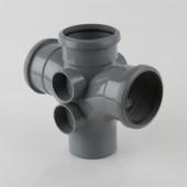 110mm Soil Pipe - Triple Socket Double Branch 92½* Black